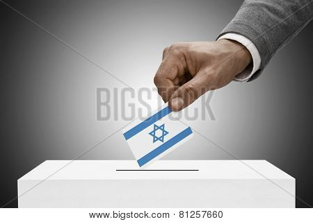 Black Male Holding Flag. Voting Concept - Israel