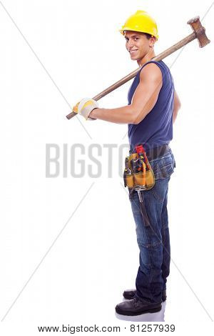 Full body portrait of a smiling worker, isolated on white background