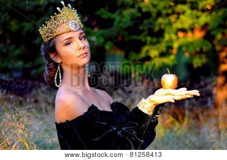 Elegant Young Woman Dressed Like Queen