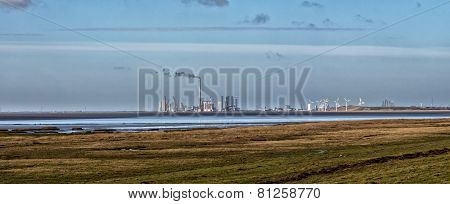 Panorama Of Esbjerg Wind And Oil Harbor, Denmark