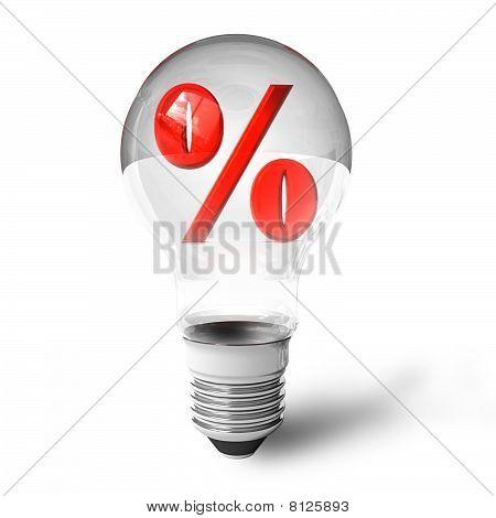 Percent symbol in lightbulb