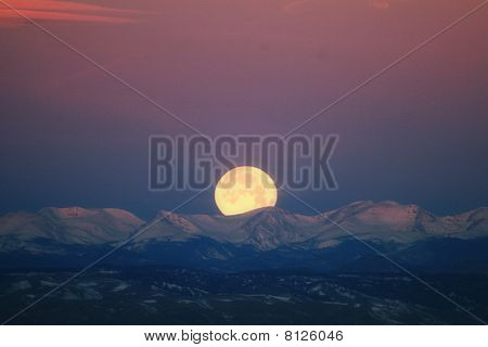 2010 Wolf Moon Over Colorado Rockies