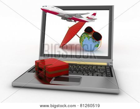 Plane with suitcase, globe and umbrella on laptop screen. Travel and vacation concept. Trendy signs - summer and journey. 3d render illustration. Elements of this image furnished by NASA.