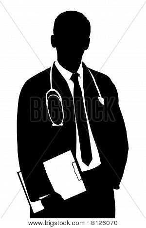 A silhouette of a doctor
