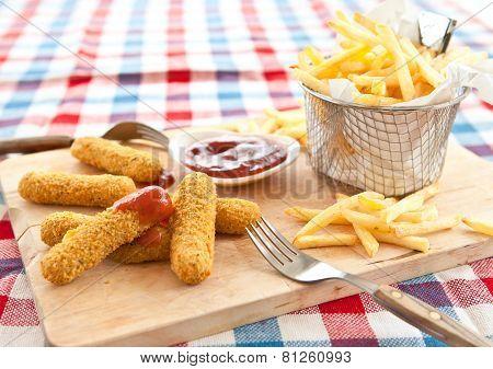 Fries And Mozzarella Sticks