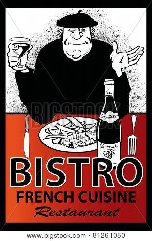 Business french restaurant poster - vector illustration