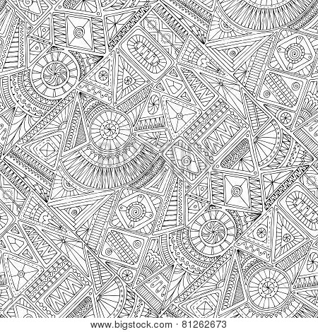 Seamless asian ethnic floral retro doodle black and white background pattern in vector. Henna paisle
