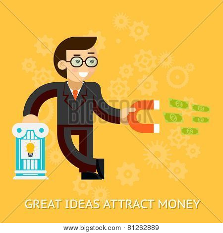 Great ideas attract money. Businessman holding magnet attracting money