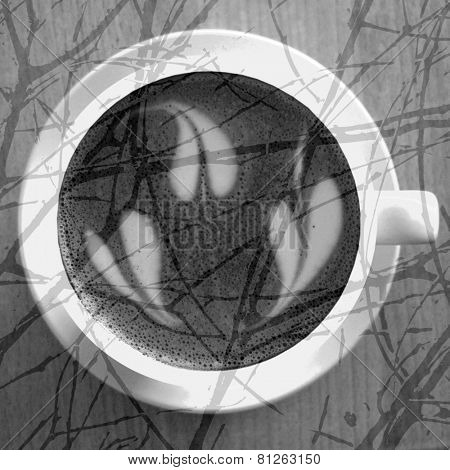 Black and White Coffee with Heart Design