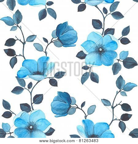 Watercolor seamless floral pattern with blue flowers, vector illustration.
