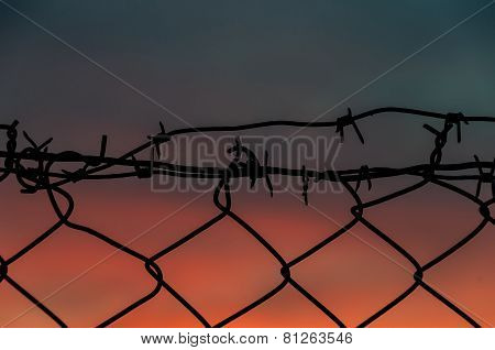 Steel Mesh Barbed Wire Fence Sunset