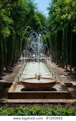 Fountain in s'Hort del Rei gardens in central Palma