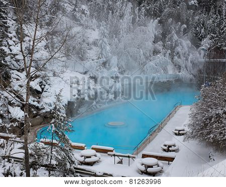 Hot Springs Pool In Winter
