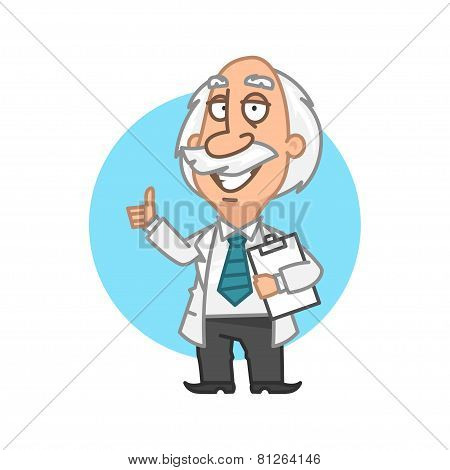 Professor holding tablet and showing thumbs up