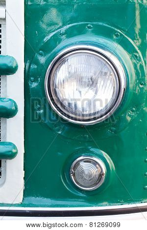 Old Car Headlight. Retro Style. Green. Classic.