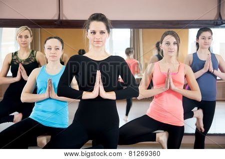 Group Of Yogi Females Doing Yoga Practice