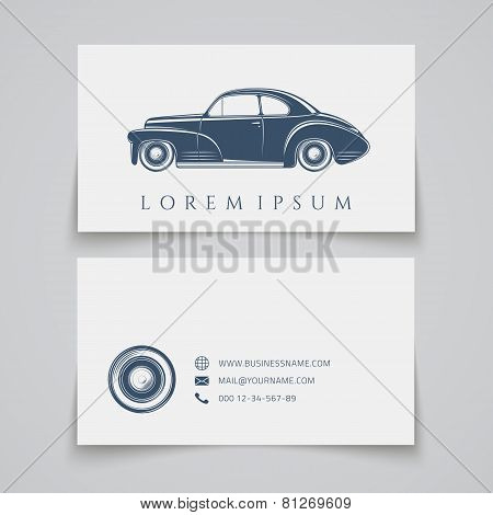 Business card template. Classic car logo