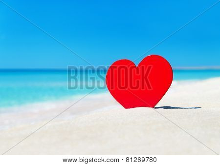 Red Heart On Beach Sand - Love Concept For Holidays