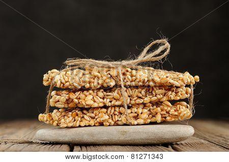 Barley Granola Bars In Pile On Rock Closeup Macro