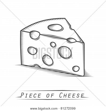 Triangular piece of cheese vintage tattoo