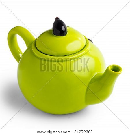 green teapot kettle isolated white background