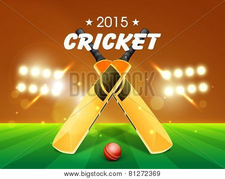 Shiny bats with red ball for Cricket 2015 on stadium lights background.