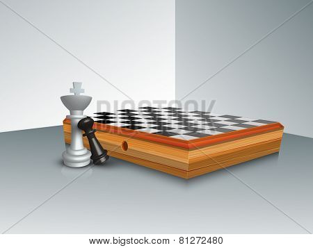 Stylish chess board with figures of king and pawn on grey background.