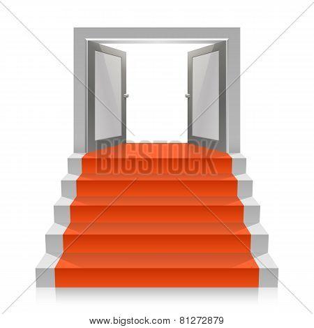 Stair with open doors