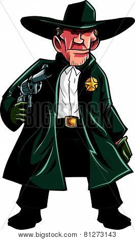 Cartoon cowboy sheriff pulling a gun