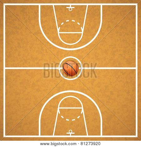 Basketball court with a ball