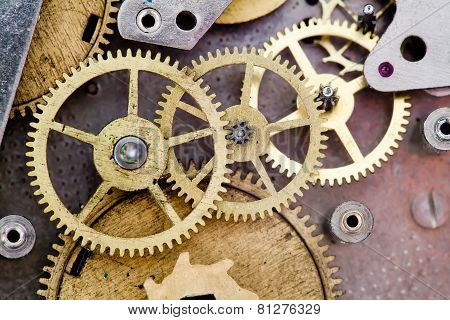 Vintage Clock Mechanism With Gears. Cog Wheels.
