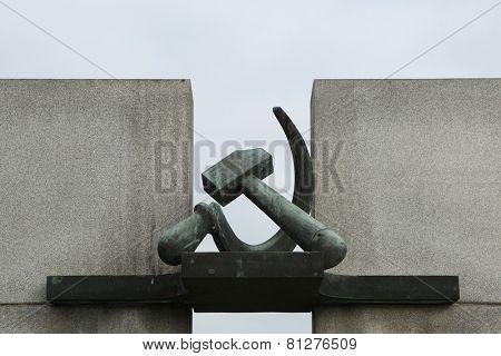 Hammer and Sickle. Soviet War Memorial in Terezin, Czech Republic.