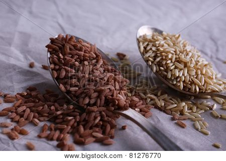 Red and brown rice in spoons on paper background