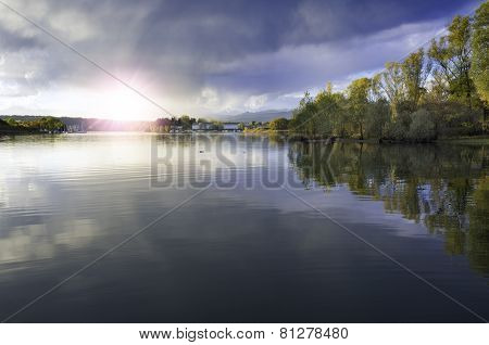 Sunset over the Lake. Color image