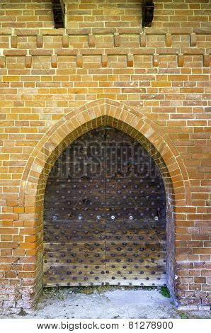 Old medieval castle doorway. Color image