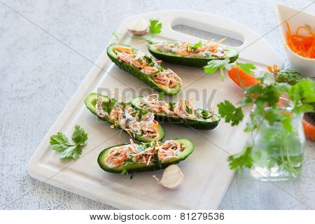 Fresh cucumber stuffed with carrot,cheese and garlic