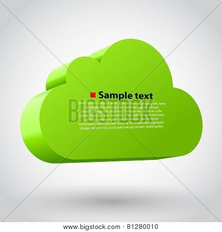 Cloud 3d glossy icon symbol.