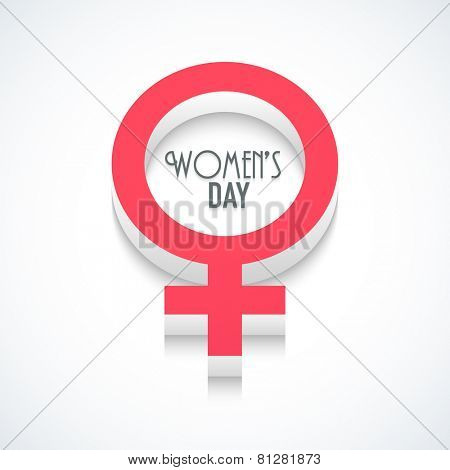 International Women's Day celebration with 3D female symbol on shiny background.