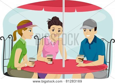 Illustration of a Group of Friends Wearing Sporty Attire Bonding Over Coffee