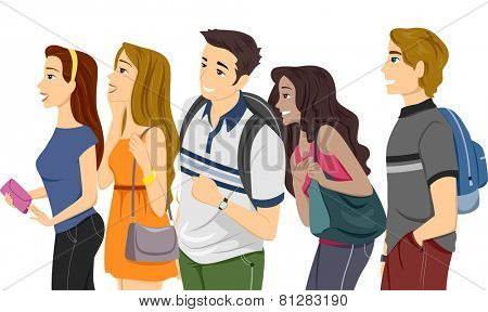 Illustration of a Couple of Teenage College Students Lining Up