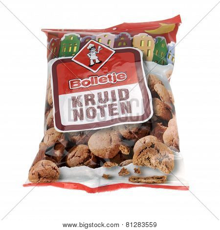 NETHERLANDS - DELFT - CIRCA JANUARY 2015: Bag with brand Bolletje spice nuts on a white background.