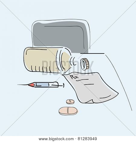 Sketch of doctor's kit for treatment.