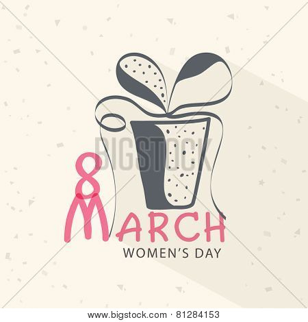 Creative gift box design with ribbon for 8 March, International Women's Day celebration.