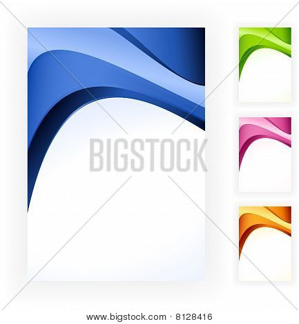 Abstract wave business template in 4 colour schemes