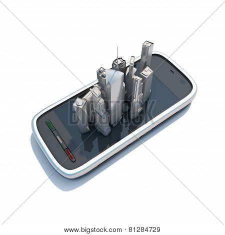 Smart Phone Mobile Maps And Navigation 3D Illustration.
