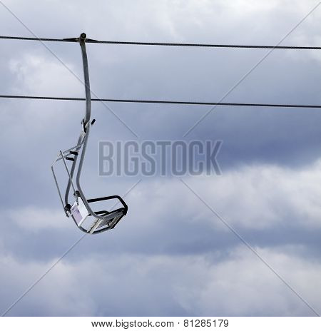 Chair Lift And Overcast Gray Sky