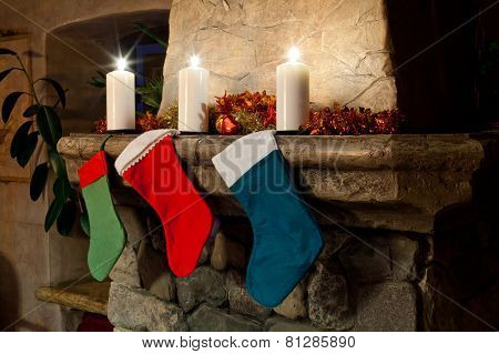 Christmas Stocking On Fireplace
