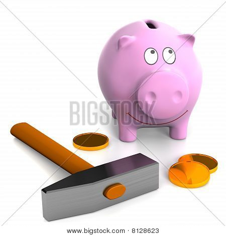 Piggy Bank And Hammer.