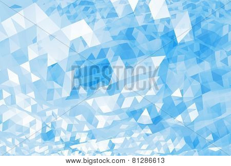 Abstract Chaotic Bright Blue Digital Low Poly Background