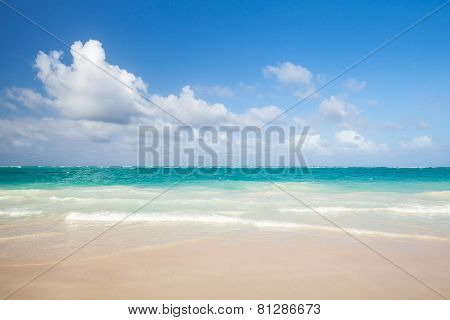 Bright Empty Beach, Coastal Landscape. Dominican Republic